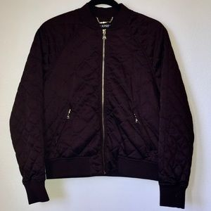 Express - Burgundy Quilted Bomber Jacket